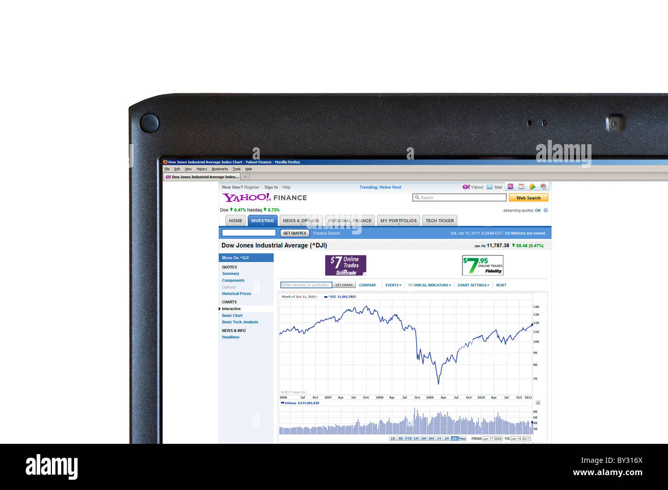 Looking at 2006 to 2010 5 year history of the Dow Jones Industrial Average on the Yahoo Finance website, UK - Stock Image