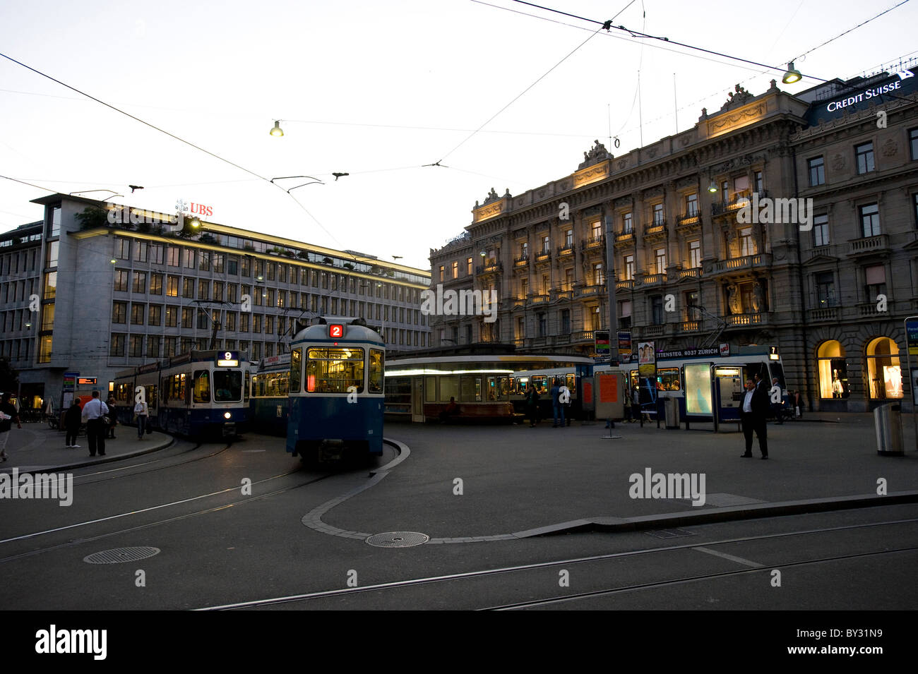 A tram at the Paradeplatz Square and the Bahnhofstrasse, Zurich, Switzerland - Stock Image