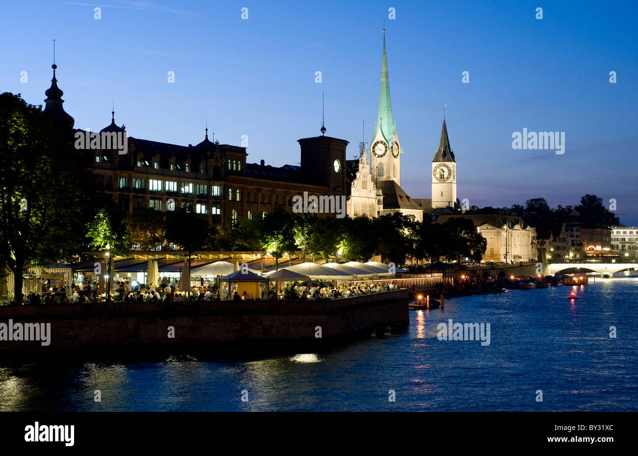 The promenade at Lake Zurich with a view onto the Old Town, Zurich, Switzerland - Stock Image