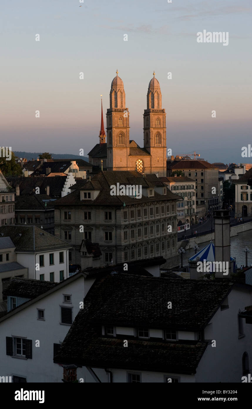 Old Town with the Grossmuenster in evening light, Zurich, Switzerland Stock Photo