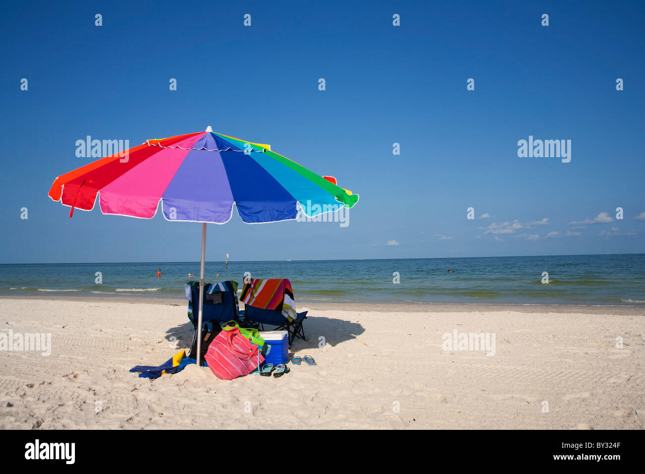 Beach Umbrella at Clearwater Beach, FL - Stock Image