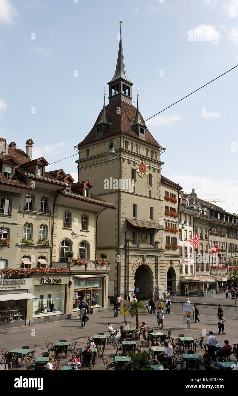 The Clock Tower in the Old Town, Bern, Switzerland - Stock Image
