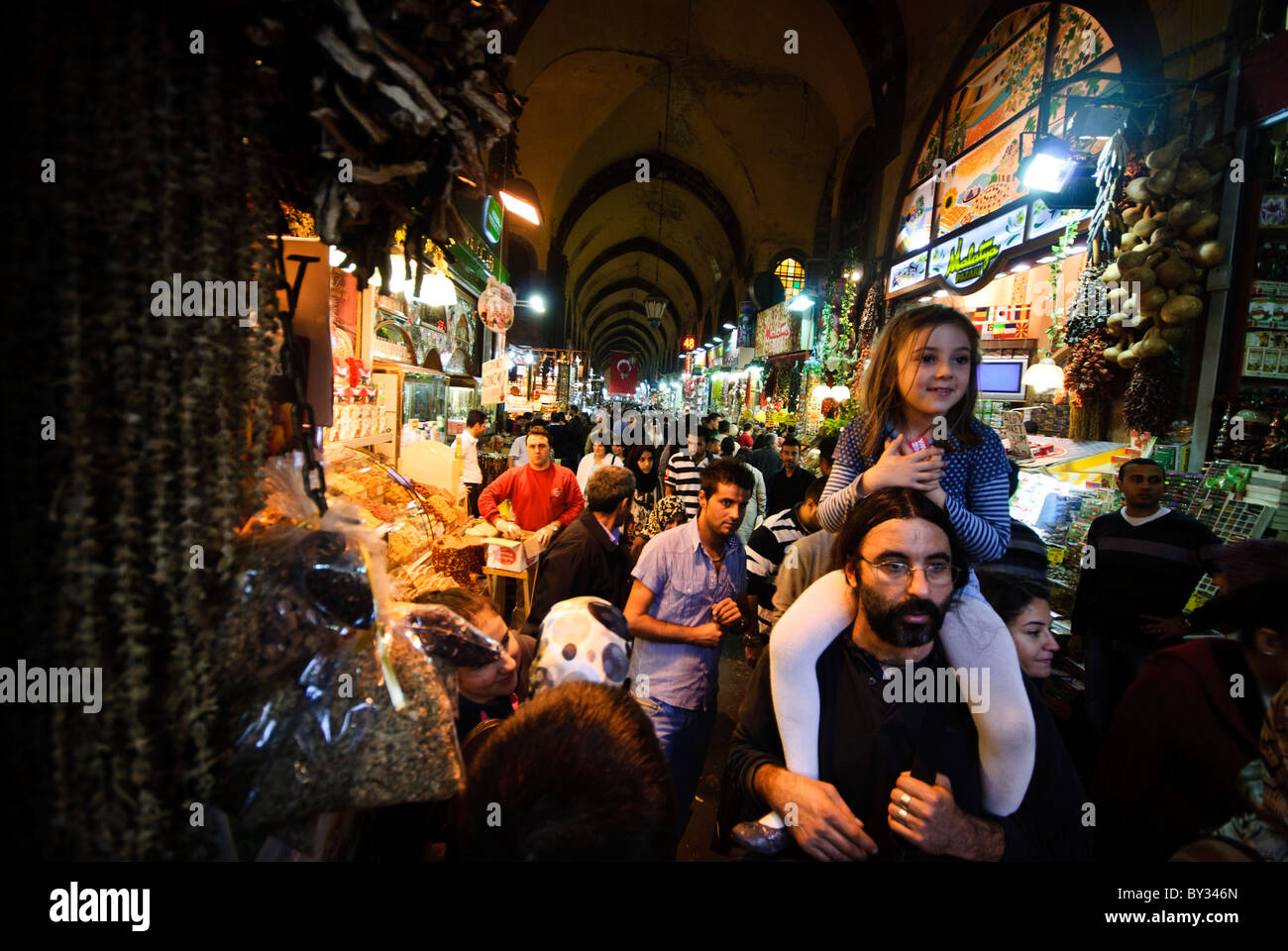 in the Spice Bazaar (also known as the Egyption Bazaar) in Istanbul, Turkey. - Stock Image