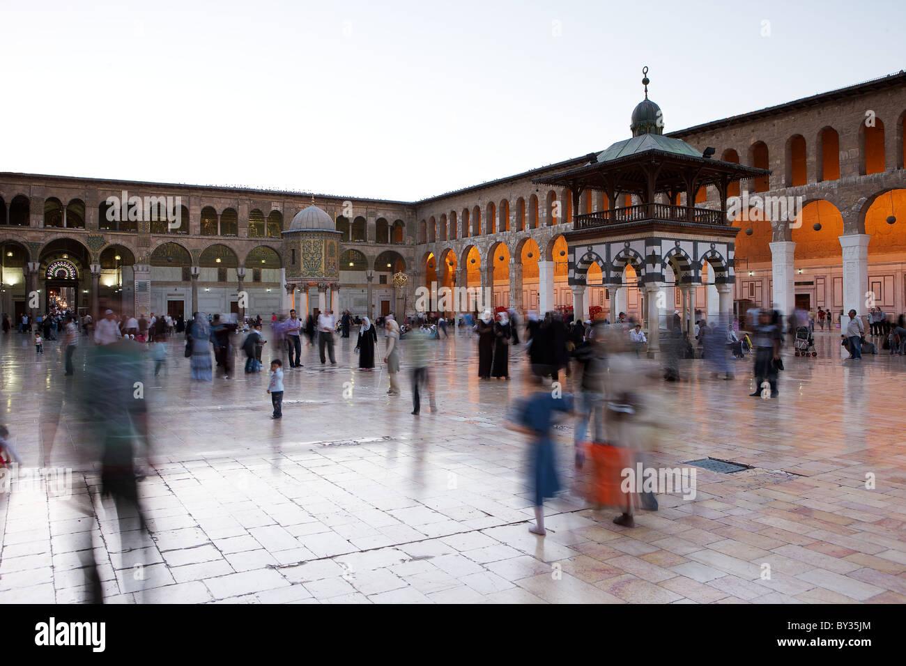 Great Umayyad Mosque, Damascus, Syria at dusk - Stock Image