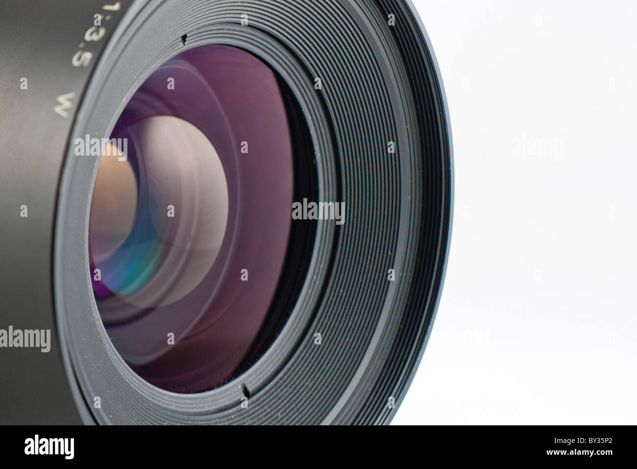 Close-up of the front lens of a medium format camera - Stock Image