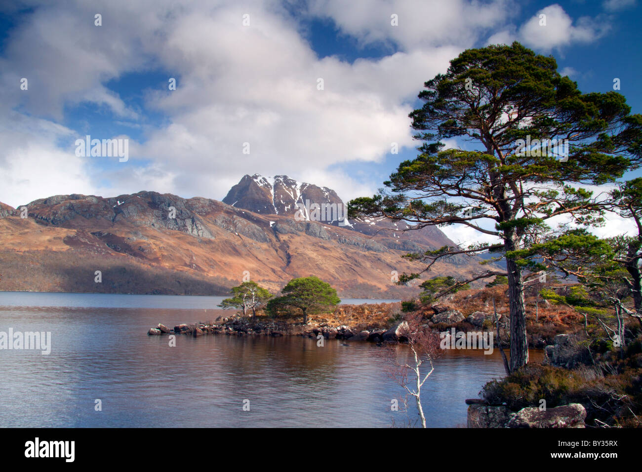 A view of Slioch from the shores of Loch Maree in Wester Ross, Scotland, UK. - Stock Image
