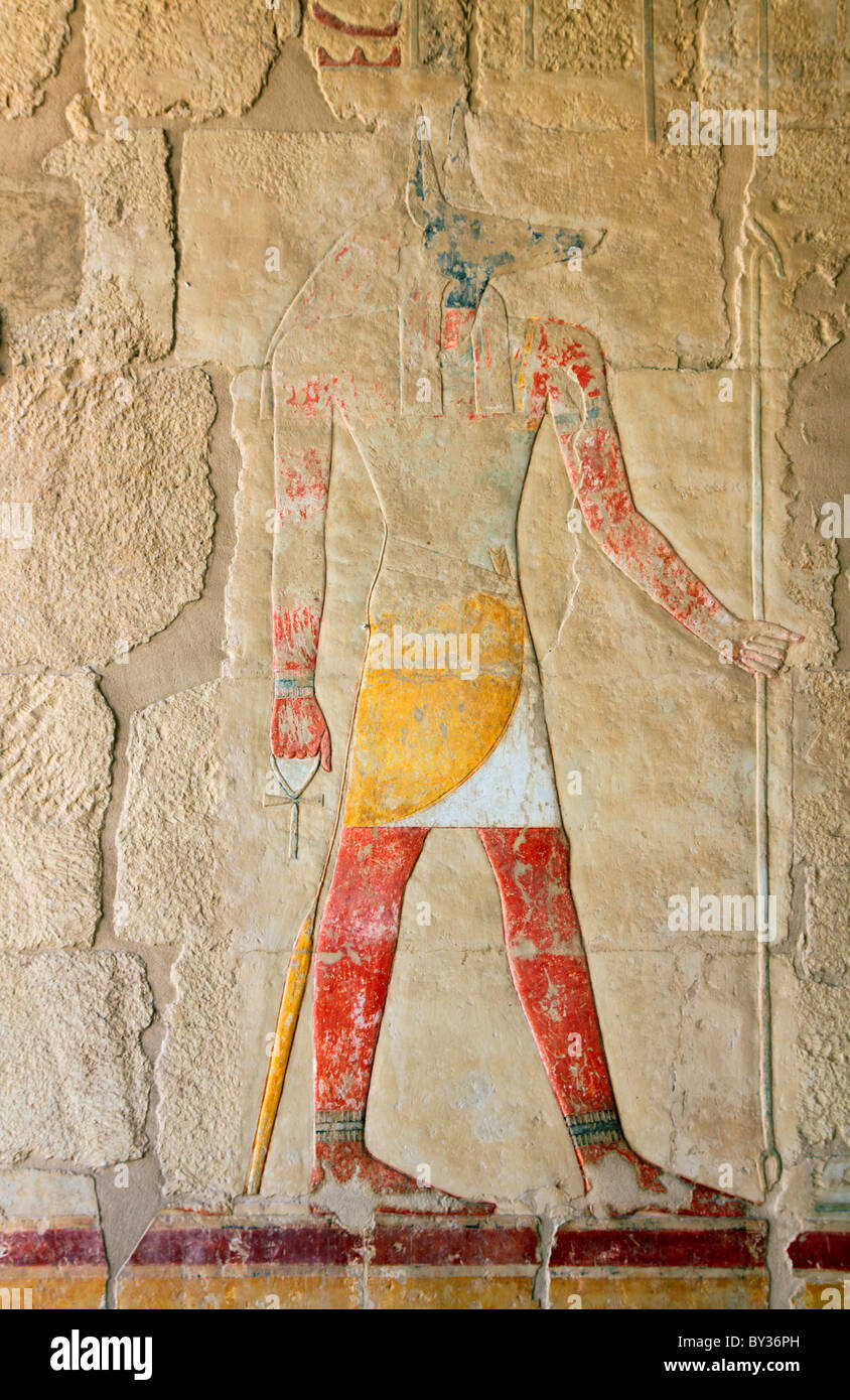 anubis - ancient egypt color image on wall in luxor Stock Photo ...