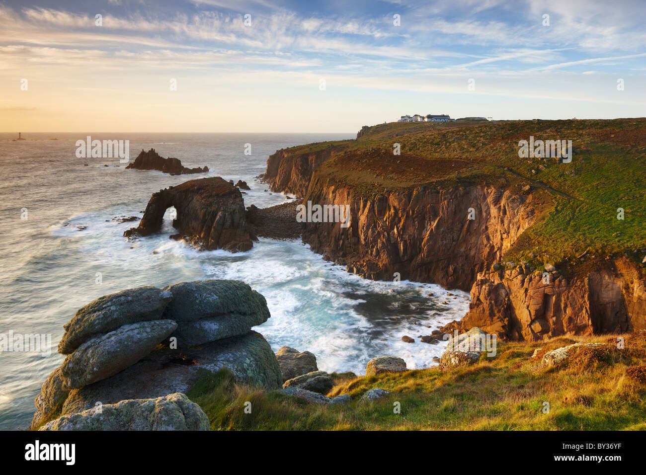 Dramatic coastline along the Penwith Peninsula at Land's End the most Westerly point of England - Stock Image