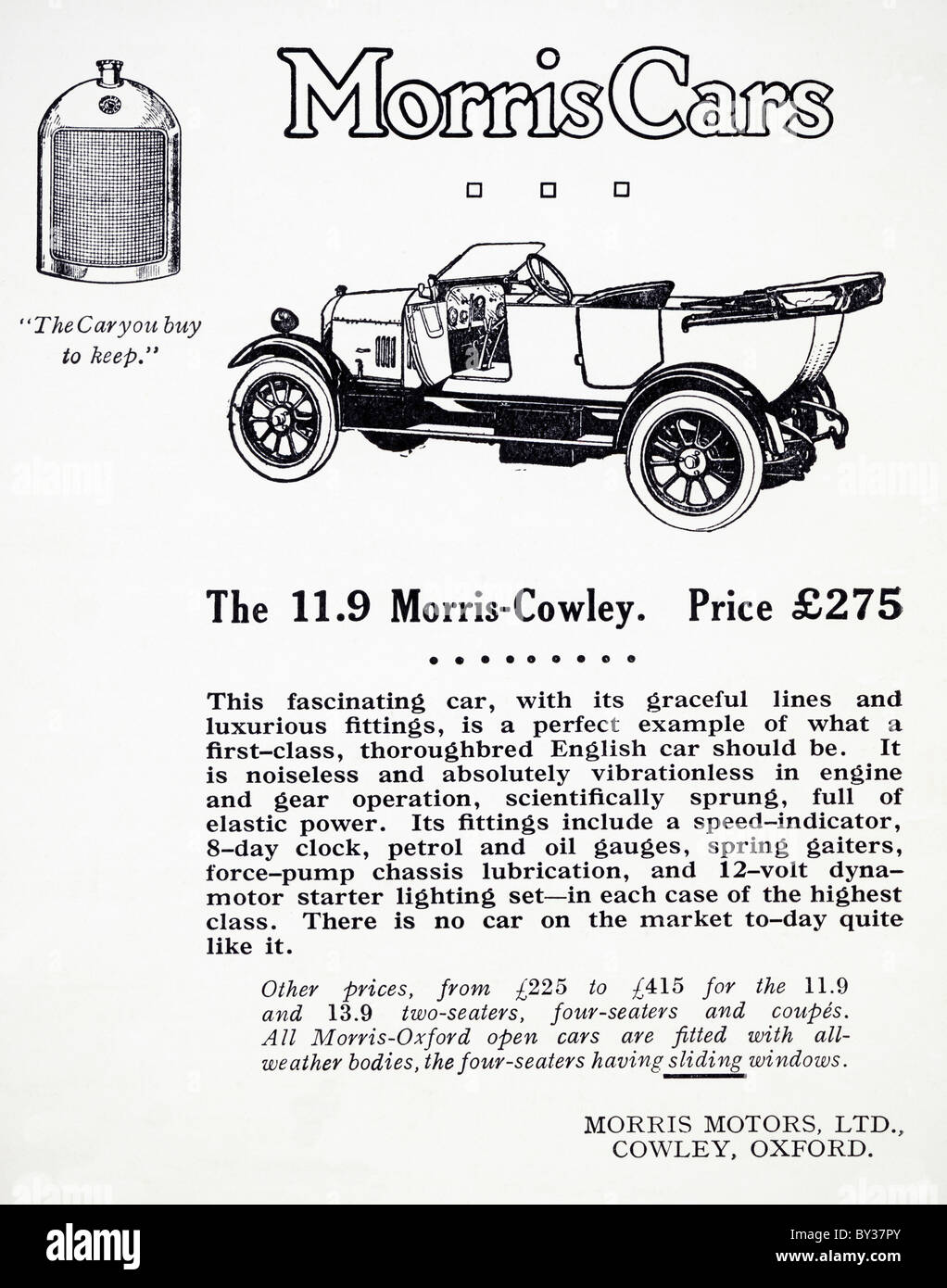 Original Advert For Morris Motors Ltd 119 Morris Cowley Bullnose