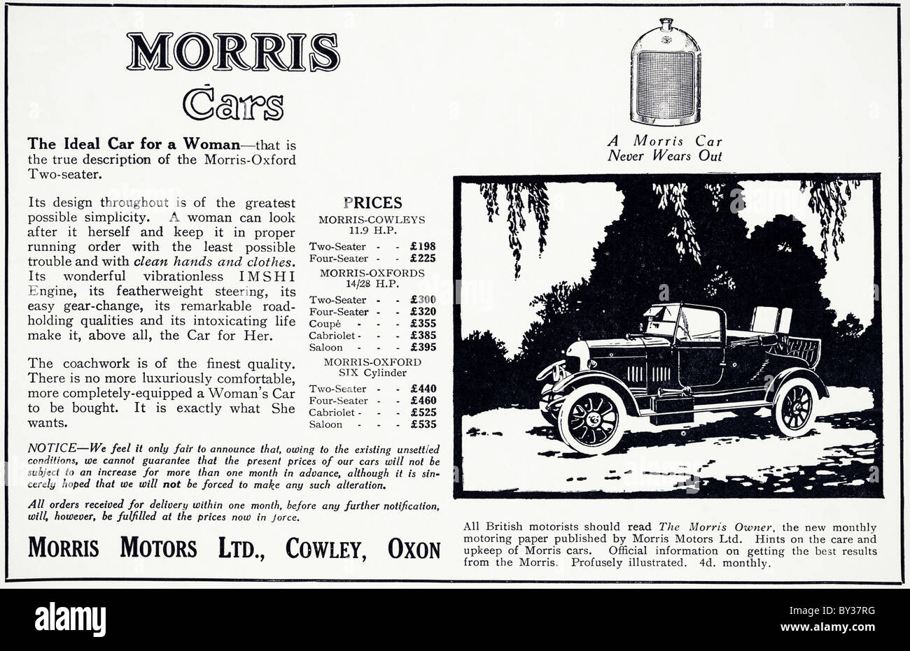 Original advert for Morris Motors Ltd 11.9 Morris-Oxford Bullnose car manufactured from 1920 to 1926 in Cowley Oxford - Stock Image