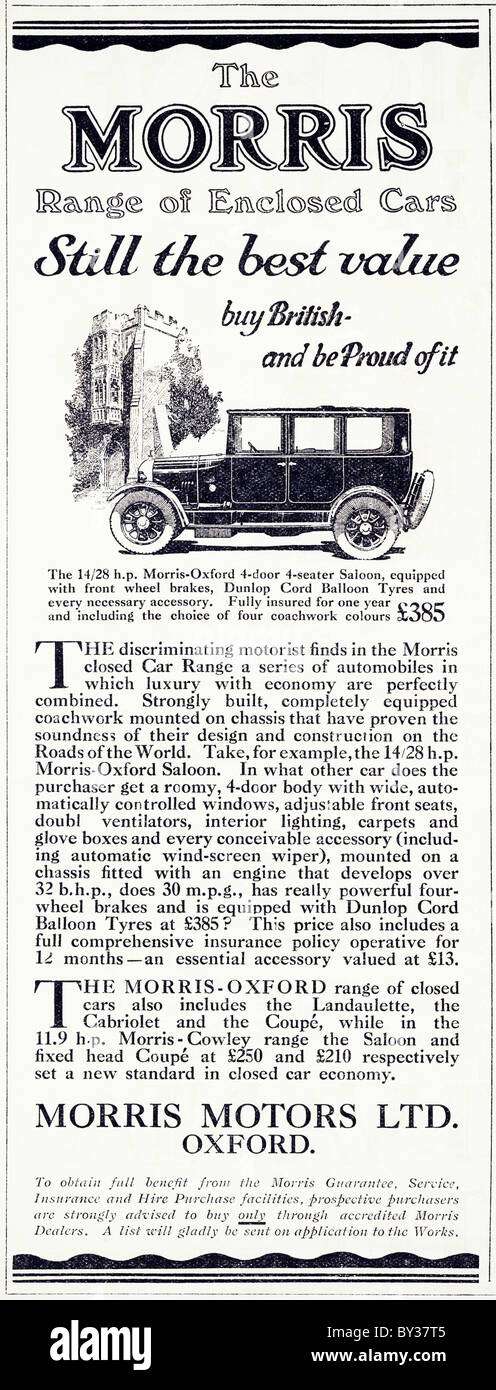 Original advert for Morris Motors Ltd 14/28 Morris-Oxford Bullnose car made from 1925 to 1926 in Cowley Oxford England - Stock Image