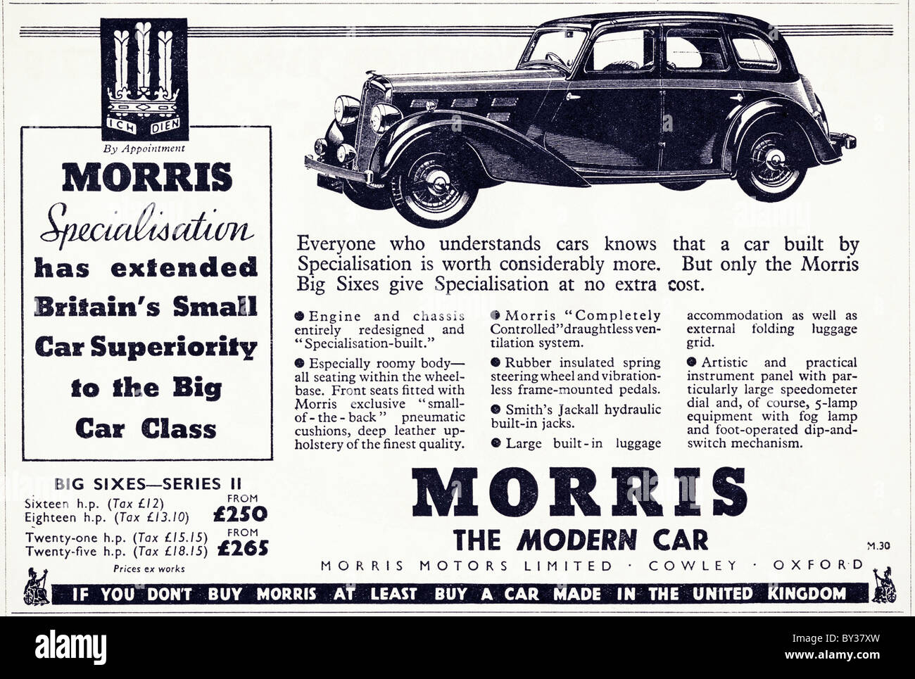 Original Advert For Morris Motors Ltd Morris Big Sixes Series 11 Car