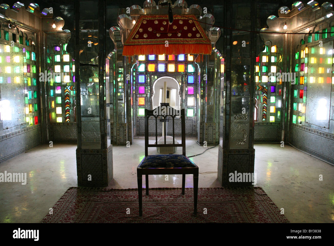 b16436af561d Extraordinary stained glass and mirrorwork throne room in the Manak Mahal  Ruby Palace at City Palace