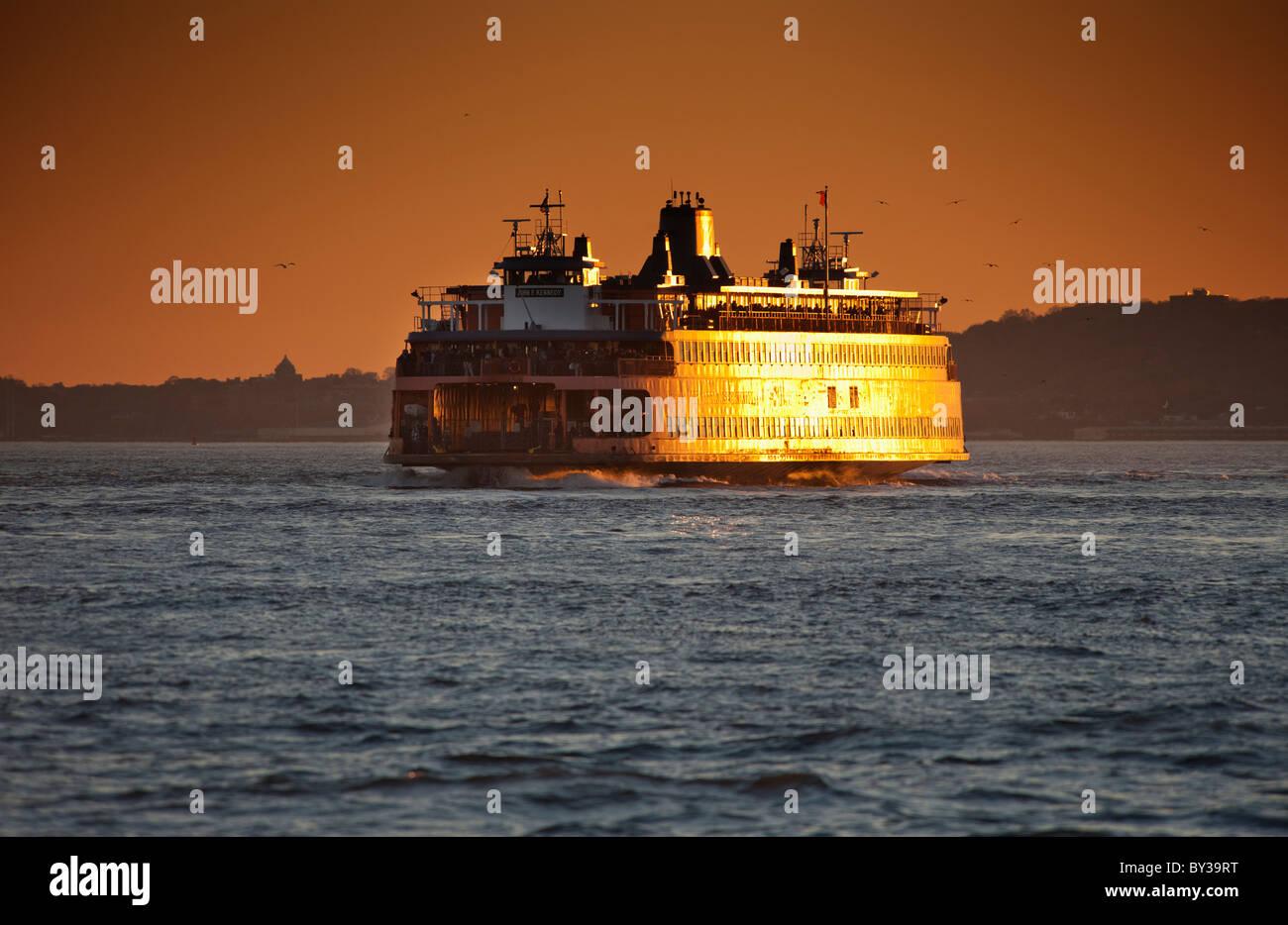 USA, New York City, Tourboat in New York Harbor - Stock Image