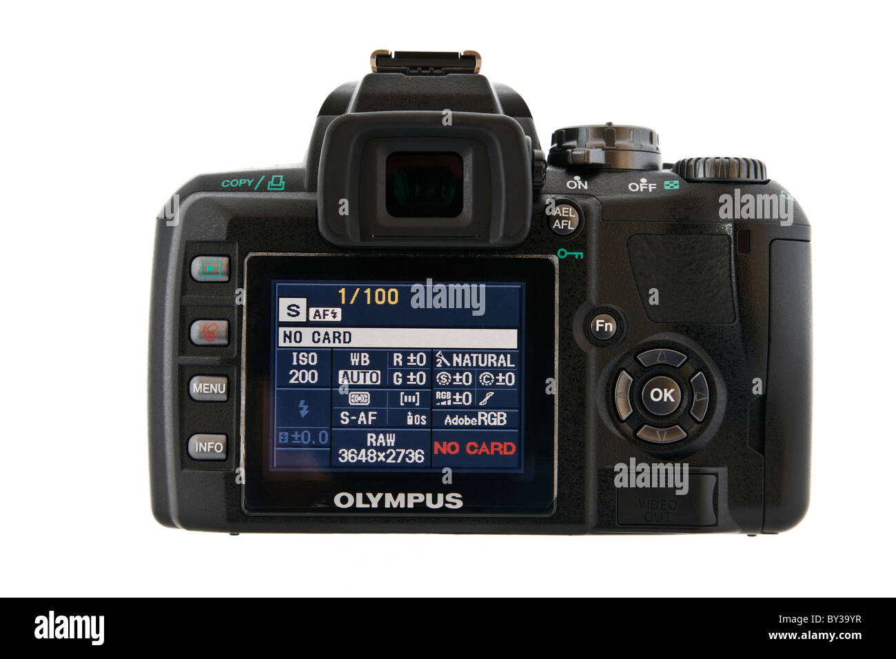 Rear view of an Olympus E400 four thirds digital SLR camera LCD menu screen with information on a white background. - Stock Image