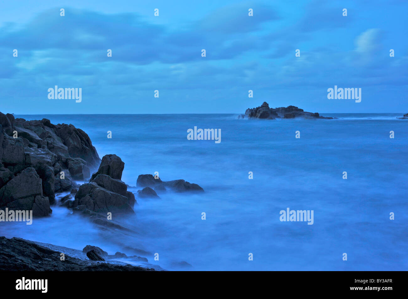Late Evening Stormy Blue Seascape Sea Ethereal - Stock Image