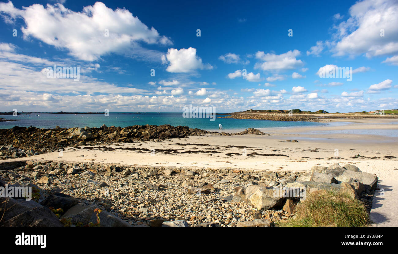 Chouet Beach Guernsey Sea Sand Rocks Windsurf - Stock Image