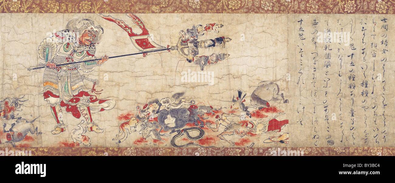 Extermination of Evil Sendan Kendatsuba scroll - Stock Image