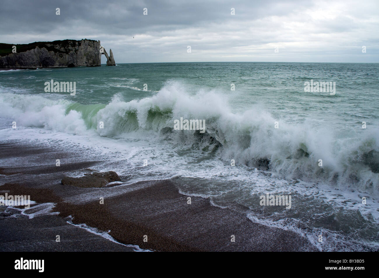 France, Normandy, Normandie, Etretat, stormy weather - Stock Image