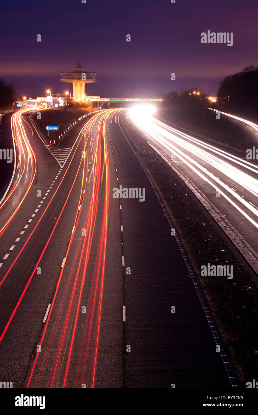 The M6 Motorway in Lancashire at Night - Stock Image