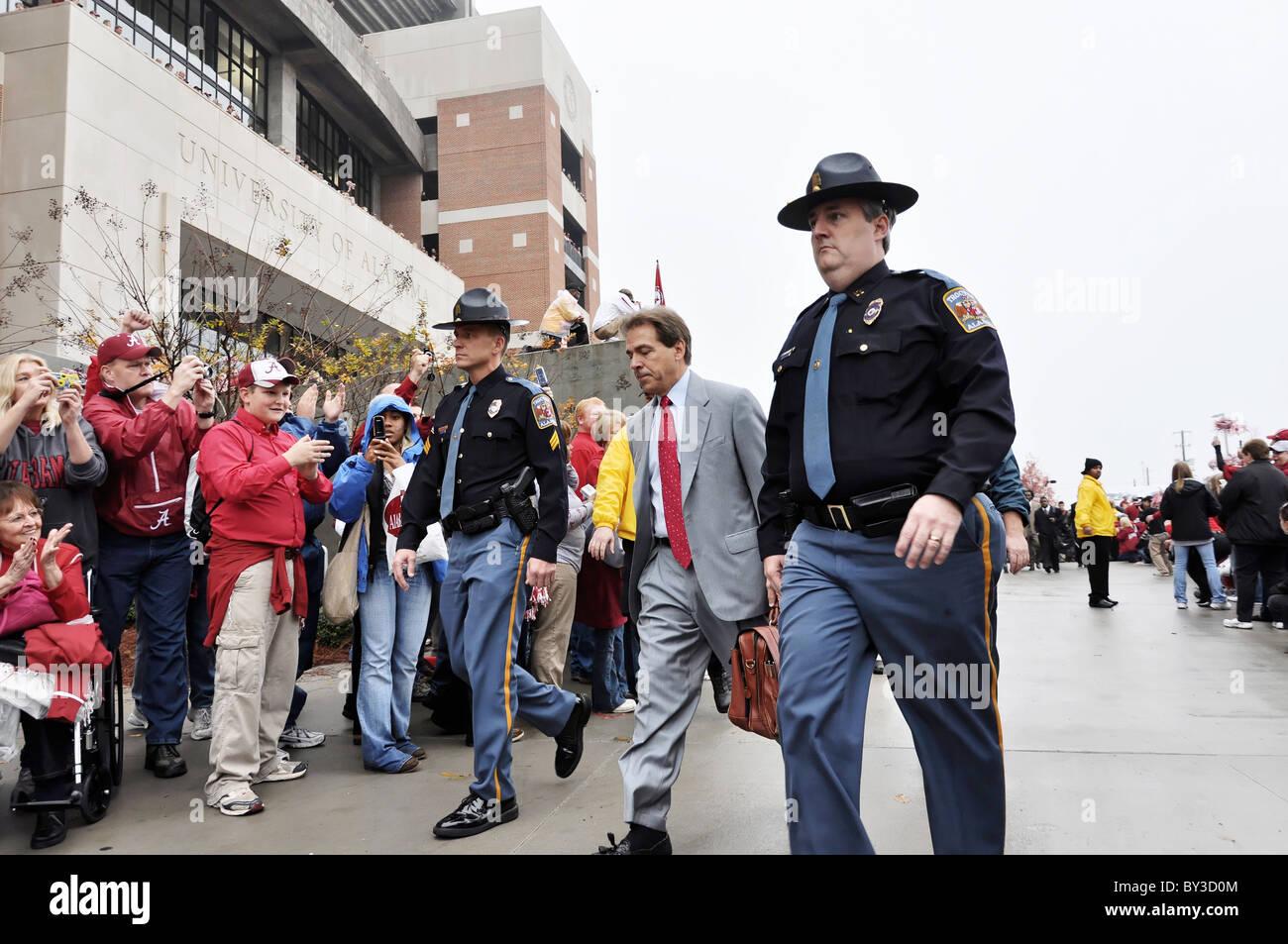 University of Alabama football coach Nick Saban arriving at Bryant Denny Stadium in Tuscaloosa, Alabama before football - Stock Image