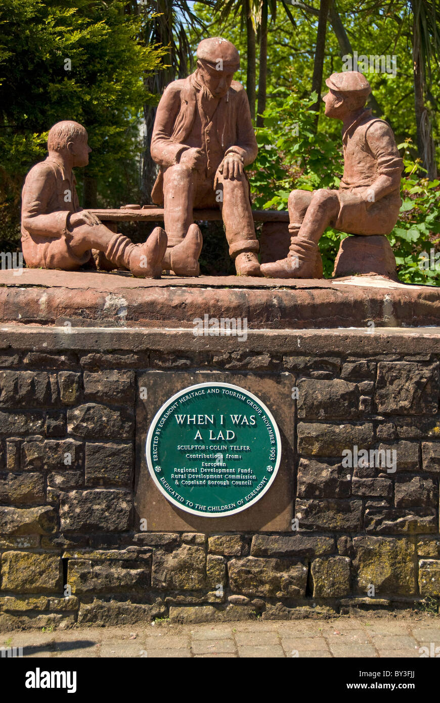 Statue of a man with children, 'When I was a lad', Egremont, Lake District National Park, Cumbria, England, - Stock Image