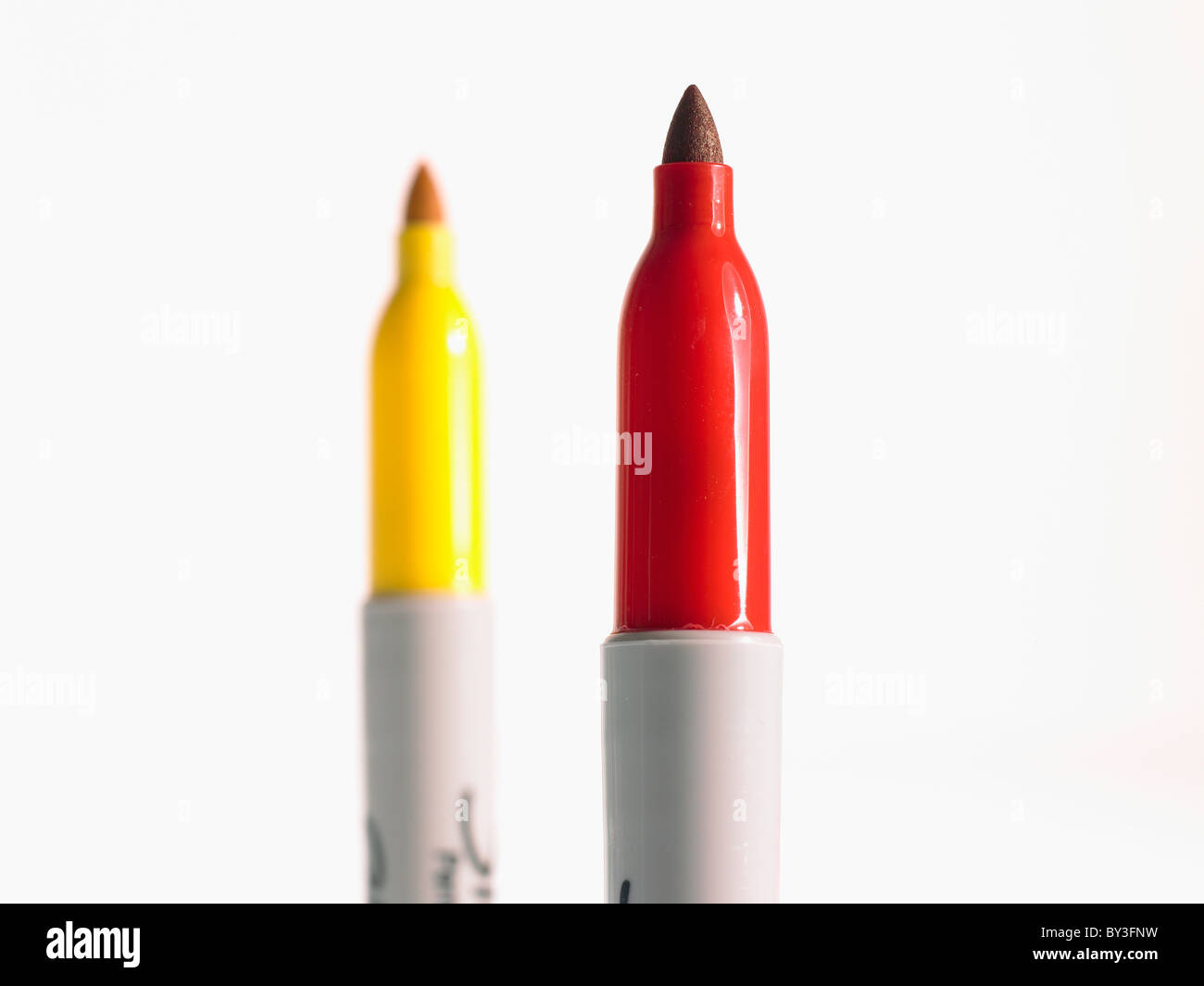 Studio shot red and yellow felt-tip pen Stock Photo: 33884309 - Alamy