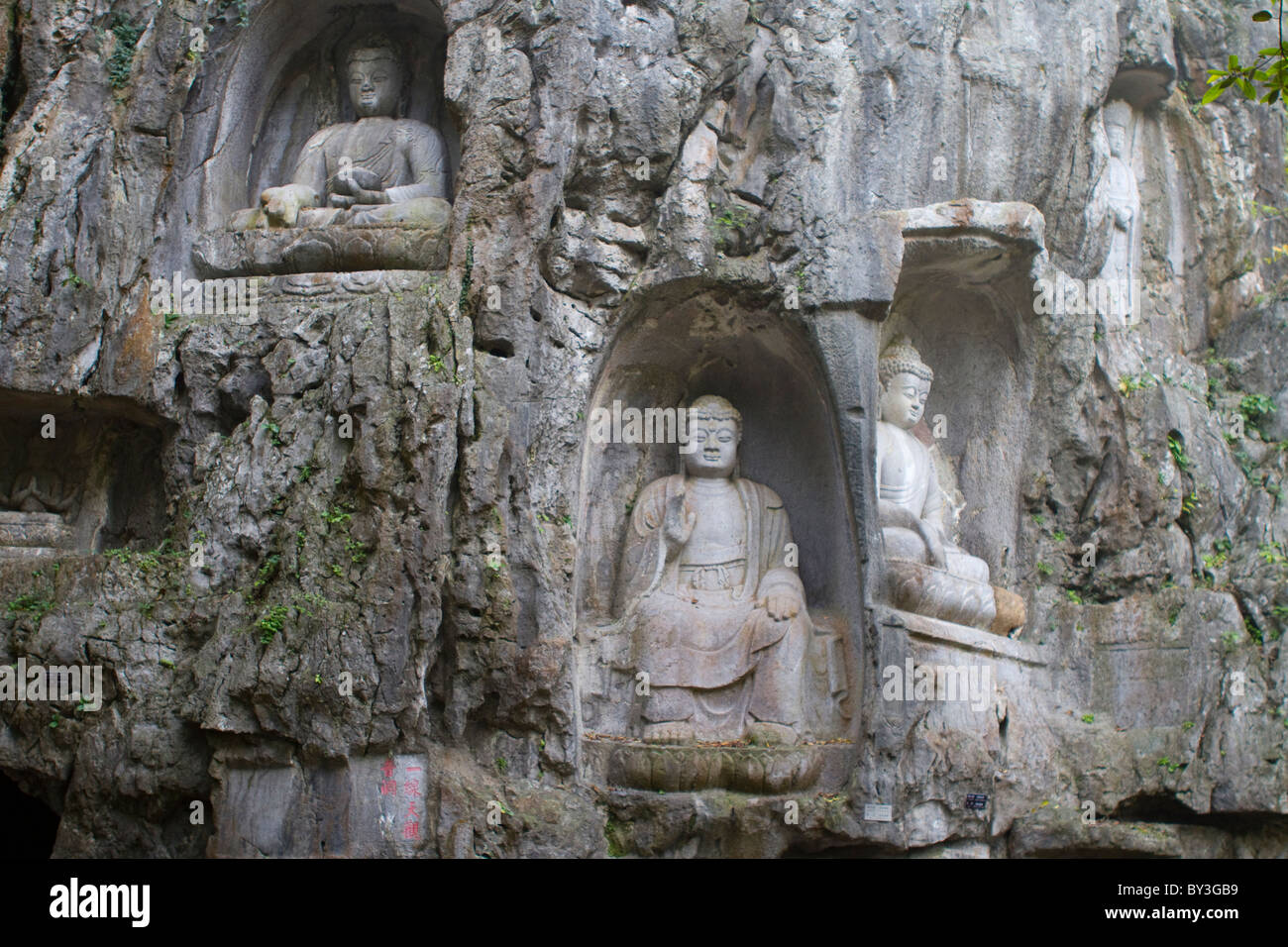 Lingyin Temple, Buddhist grottoes - Stock Image