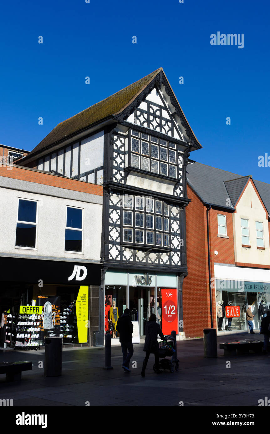 Shops in the upmarket seaside resort town of Southport, Merseyside, northern England. - Stock Image