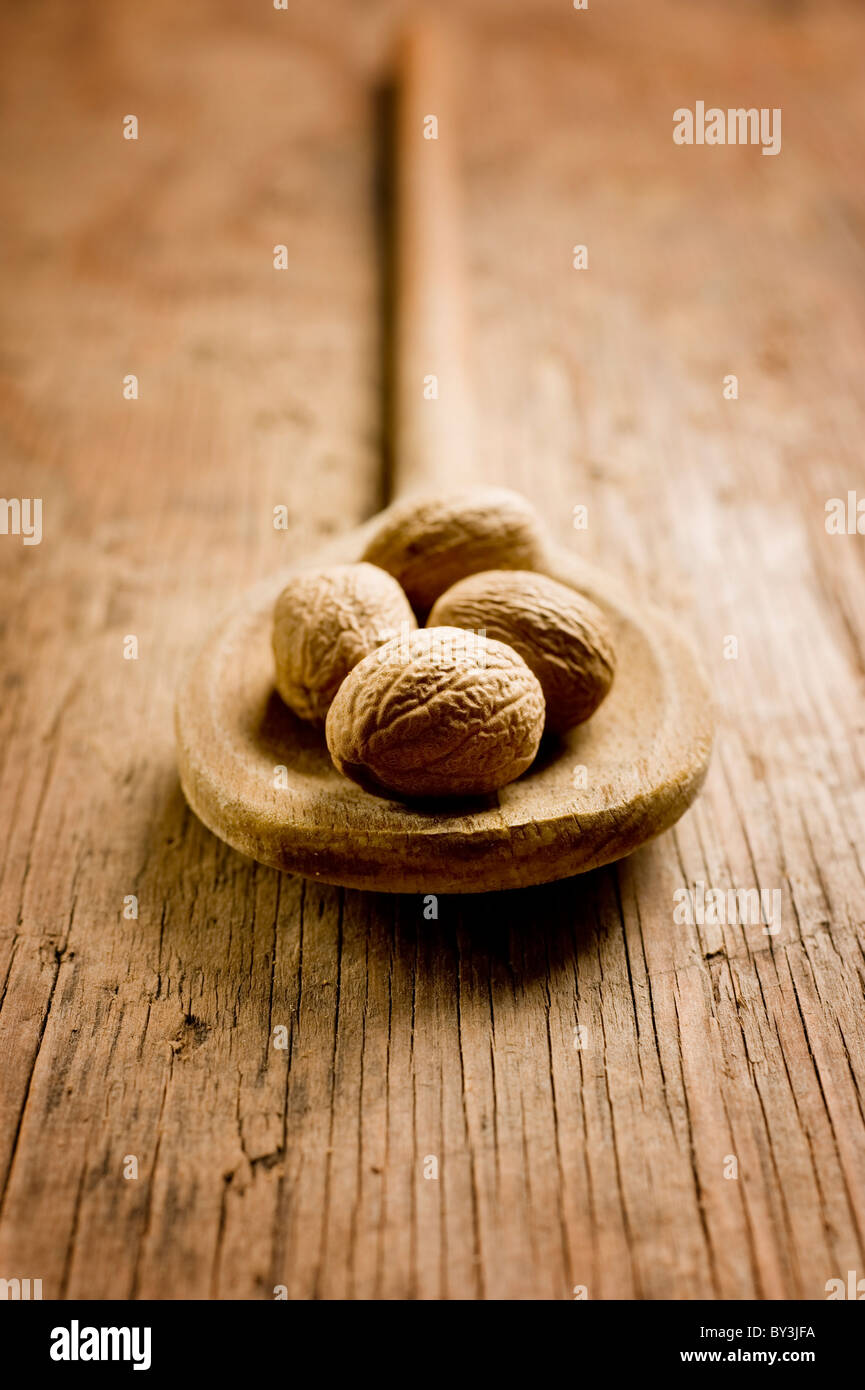 Nutmeg seeds spice - Stock Image