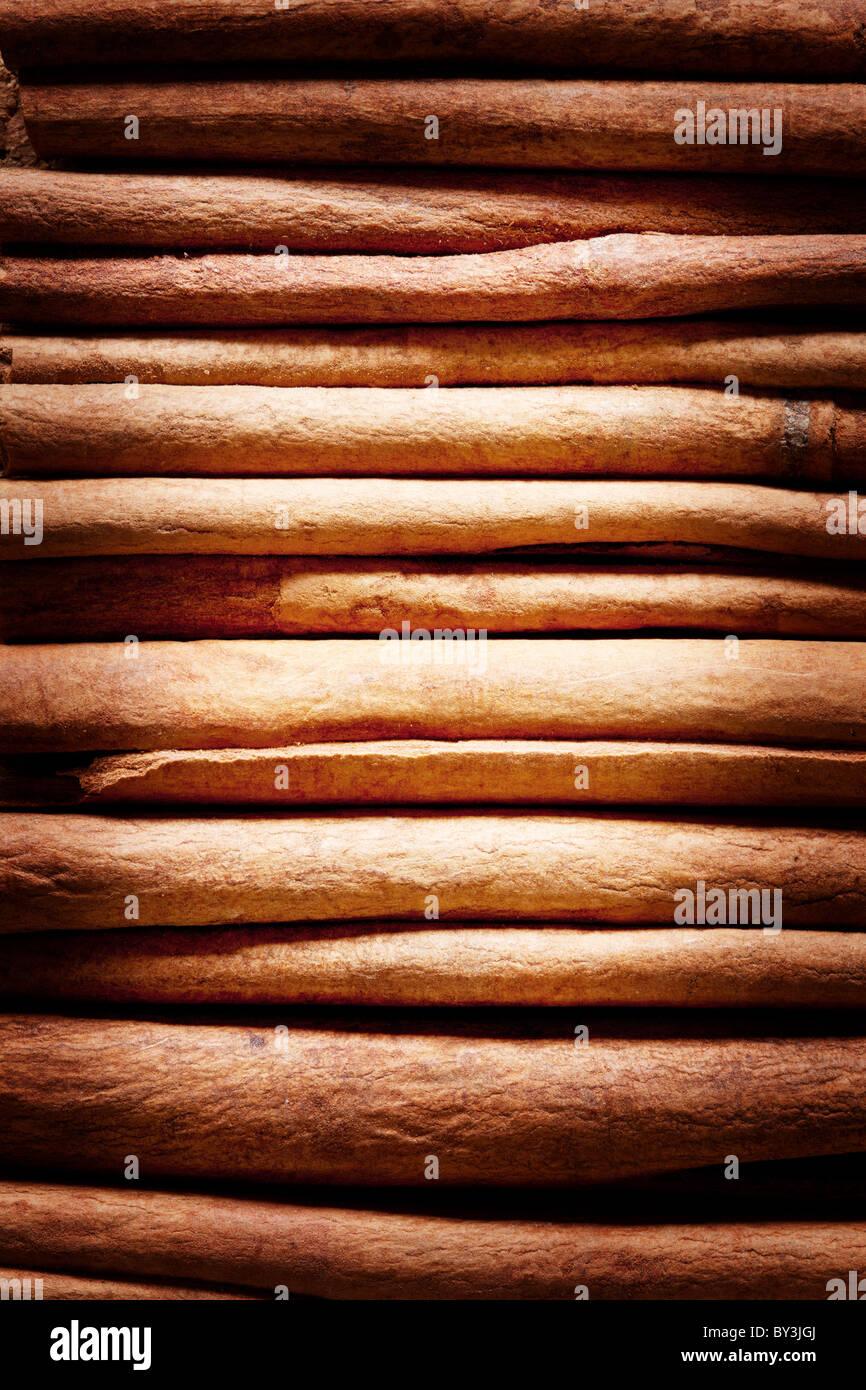 Texture image cinnamon sticks. - Stock Image