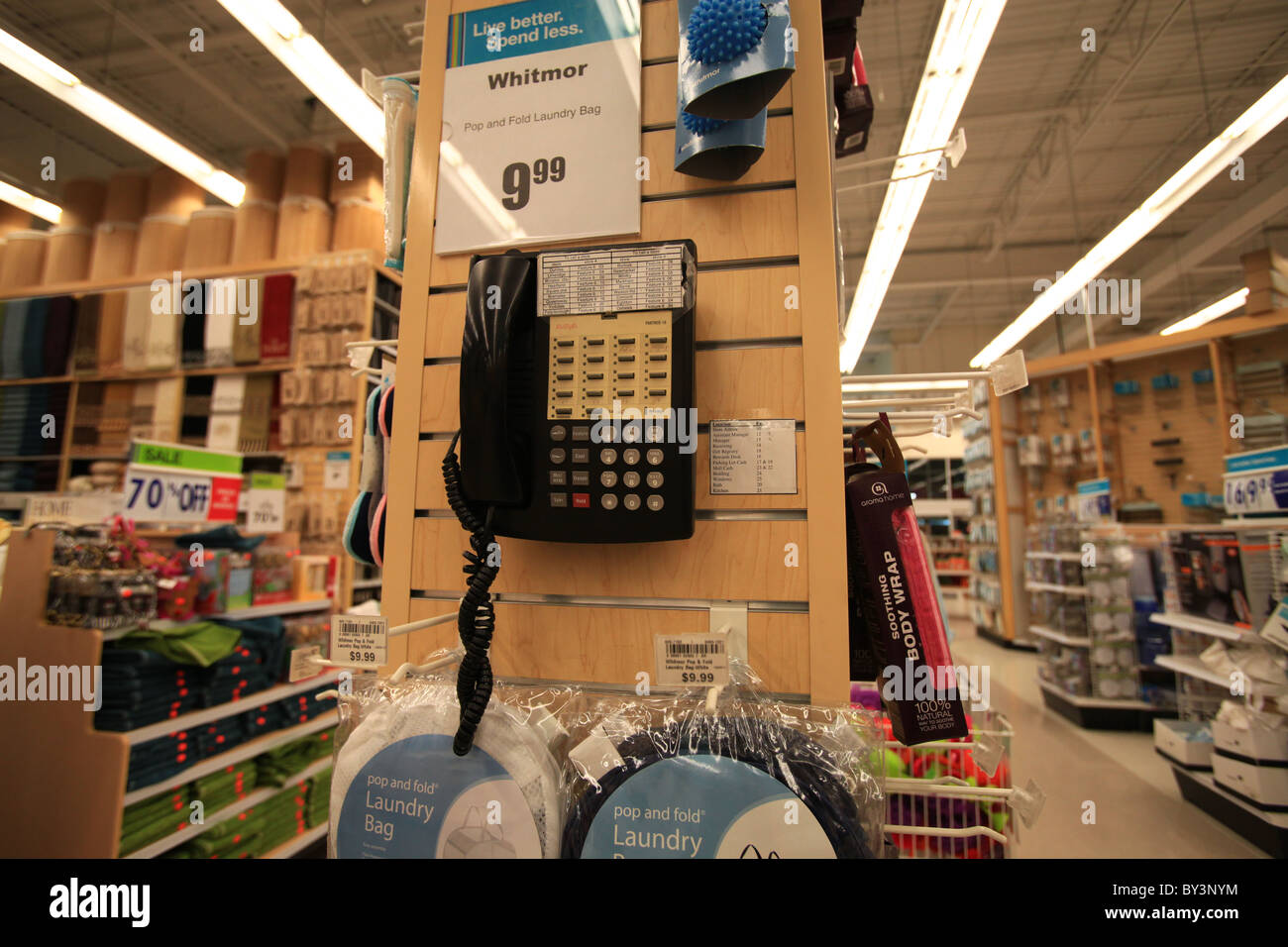 Phone for internal calls in Home outfitters outlet store in Vaughan Mills Mall in Toronto, Canada 2010 - Stock Image