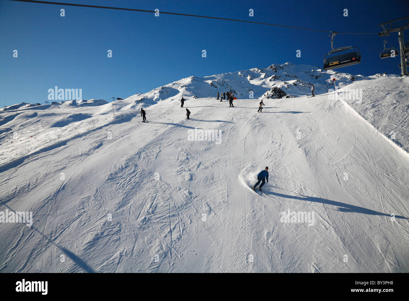 Skiing on the hill at Zillertal Arena, Austria, Europe - Stock Image