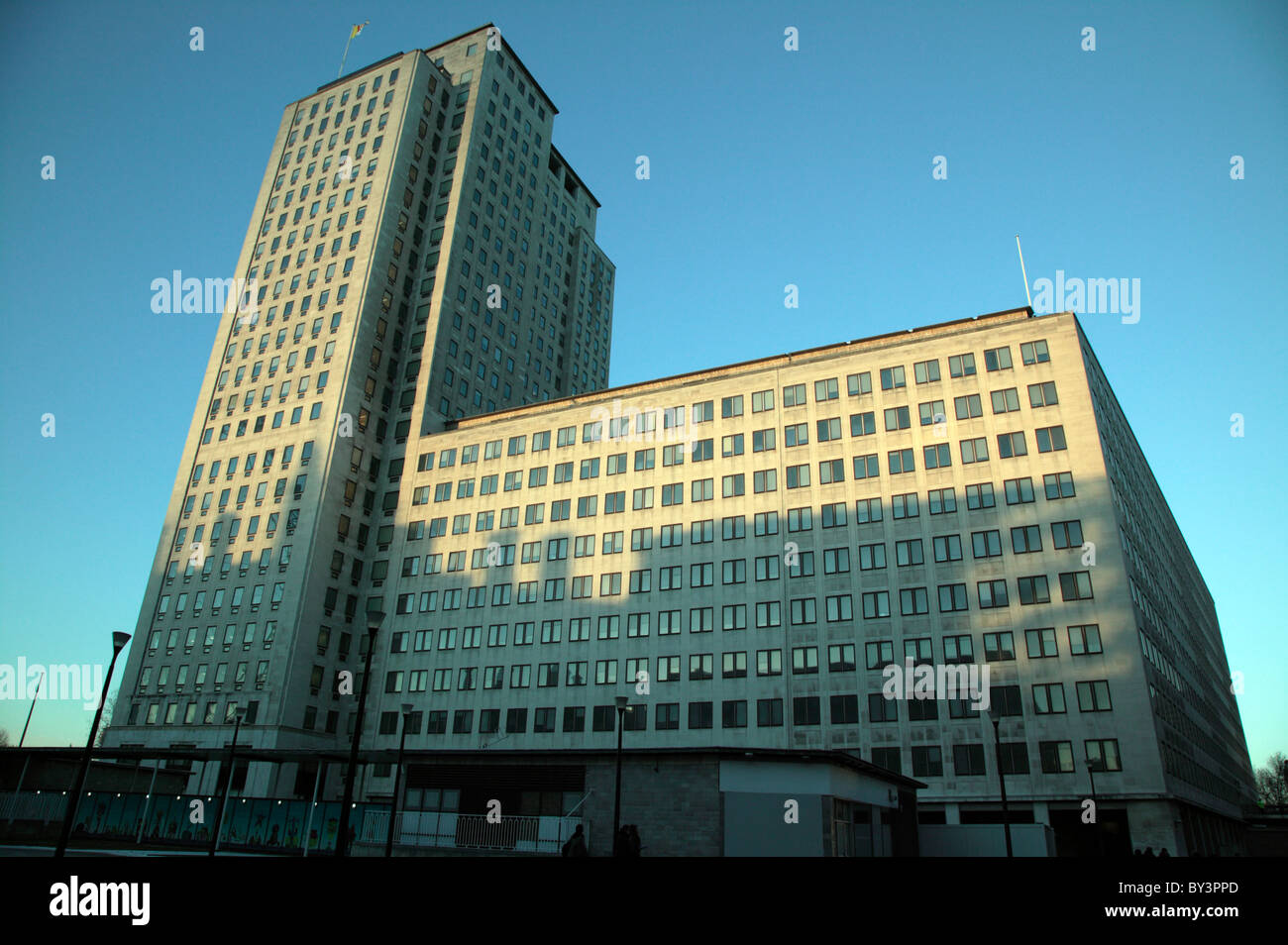 Image close to sunset, of the Shell Centre, Belvedere Road, London Borough of Lambeth - Stock Image