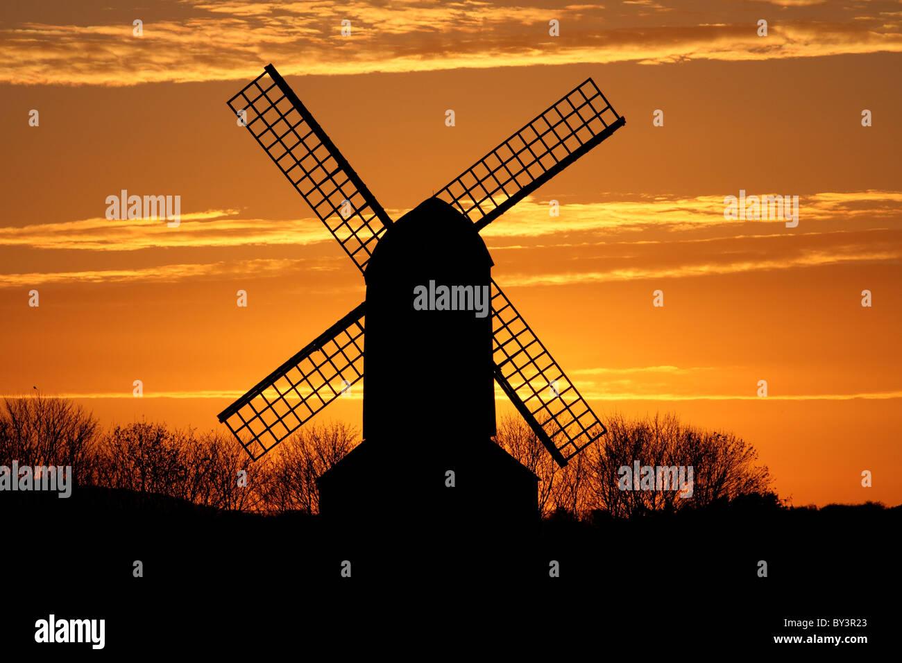 Pitstone Mill windmill postmill Buckinghamshire sunset silhouette - Stock Image