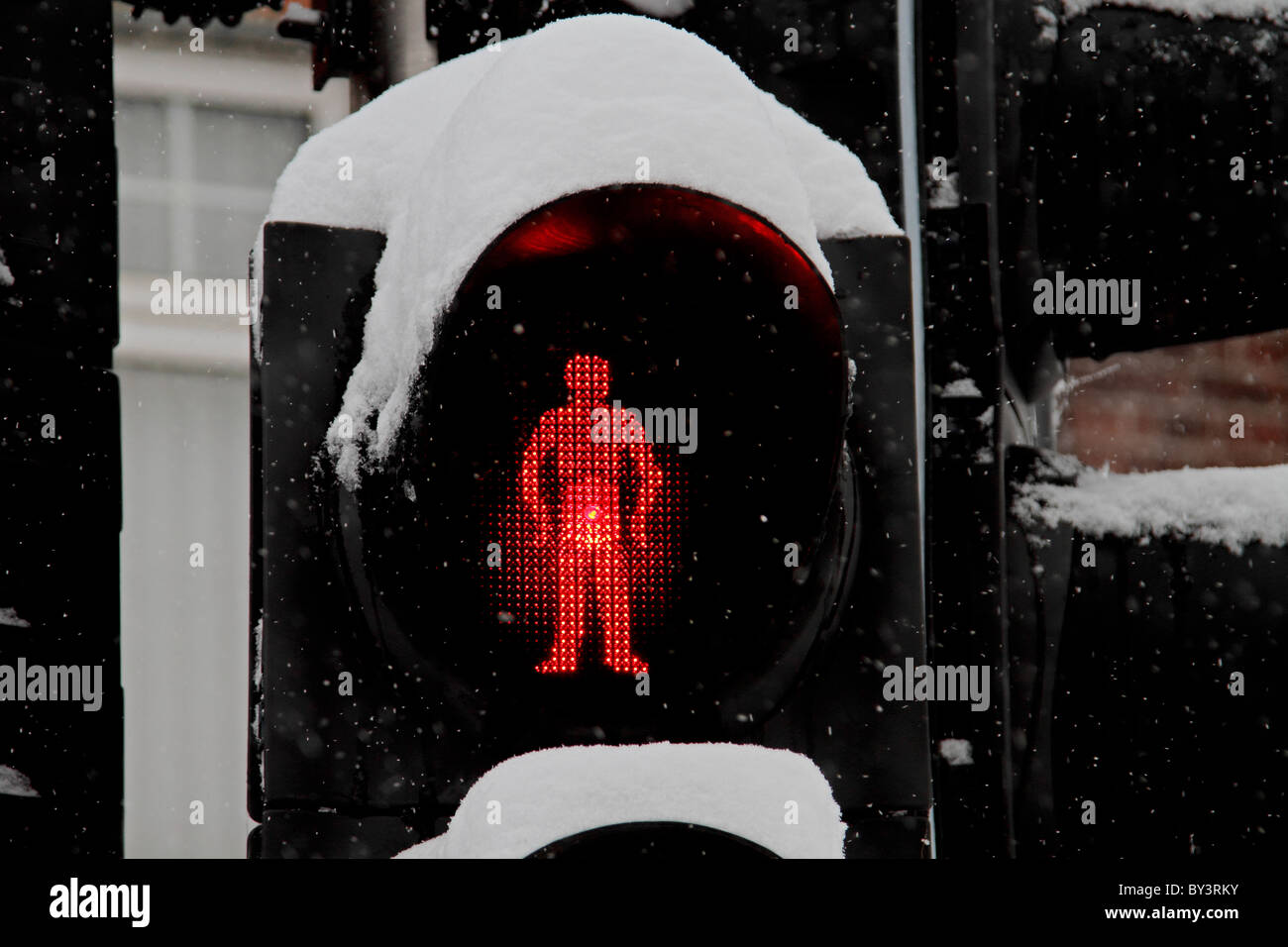 Snowy Crossing wait snow stop light winter traffic - Stock Image
