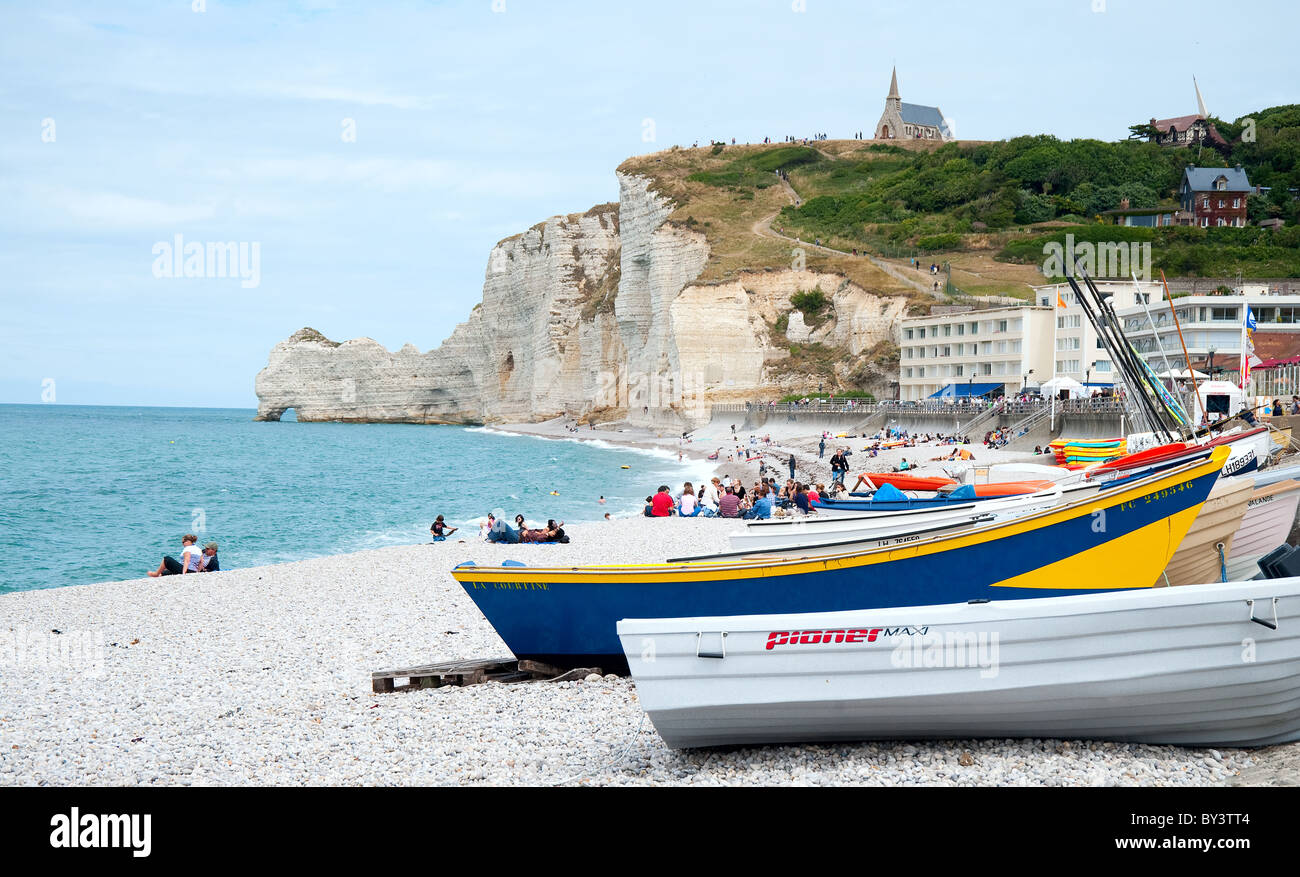 France, Normandy,  Etretat,  beach - Stock Image