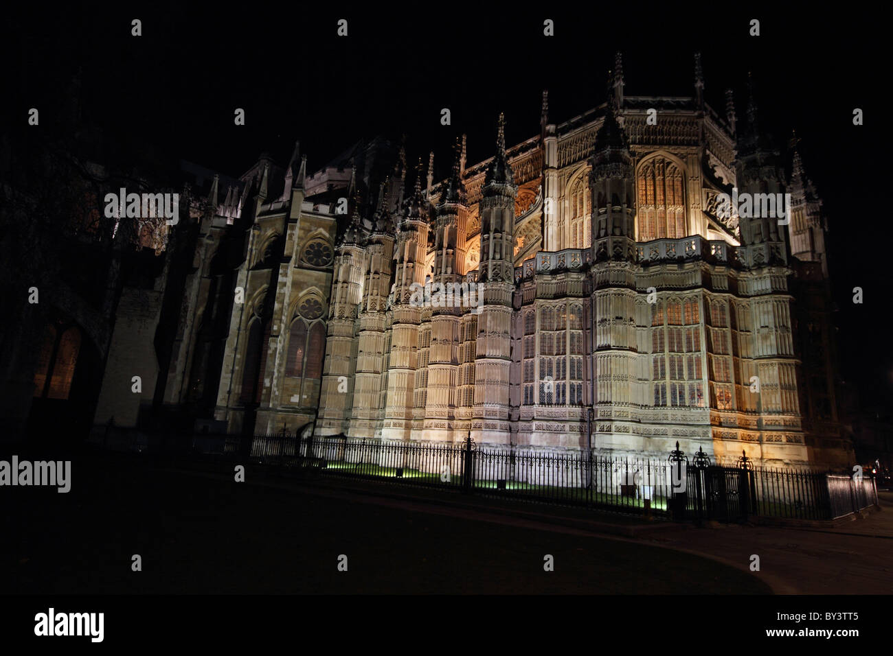 Westminster Abbey at night floodlit London - Stock Image
