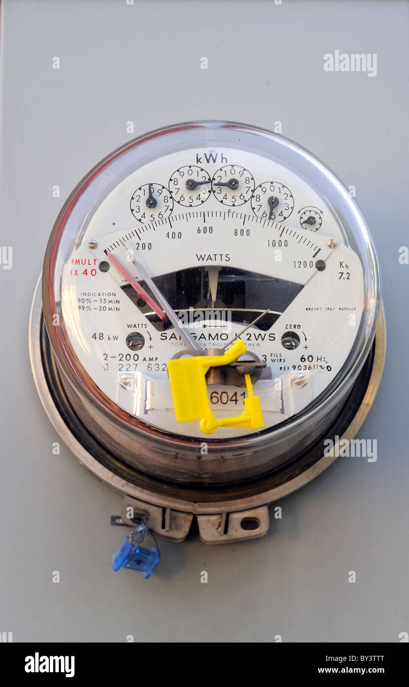 Electric Meter On A Building In Newfoundland Canada - Stock Image