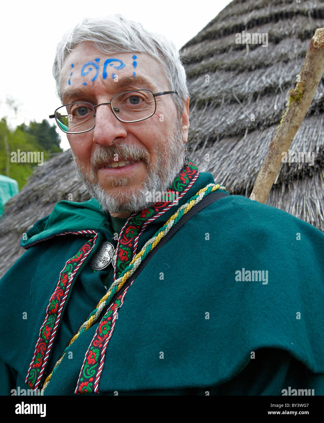 Male Druid At The Burning Of the Wickerman Butser Farm Sussex UK - Stock Image