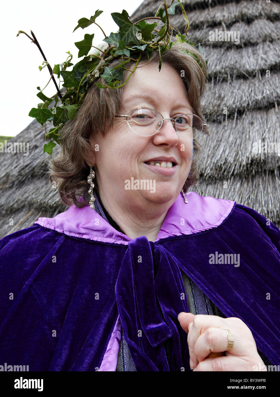 Female Druid At The Burning Of the Wickerman Butser Farm Sussex UK - Stock Image