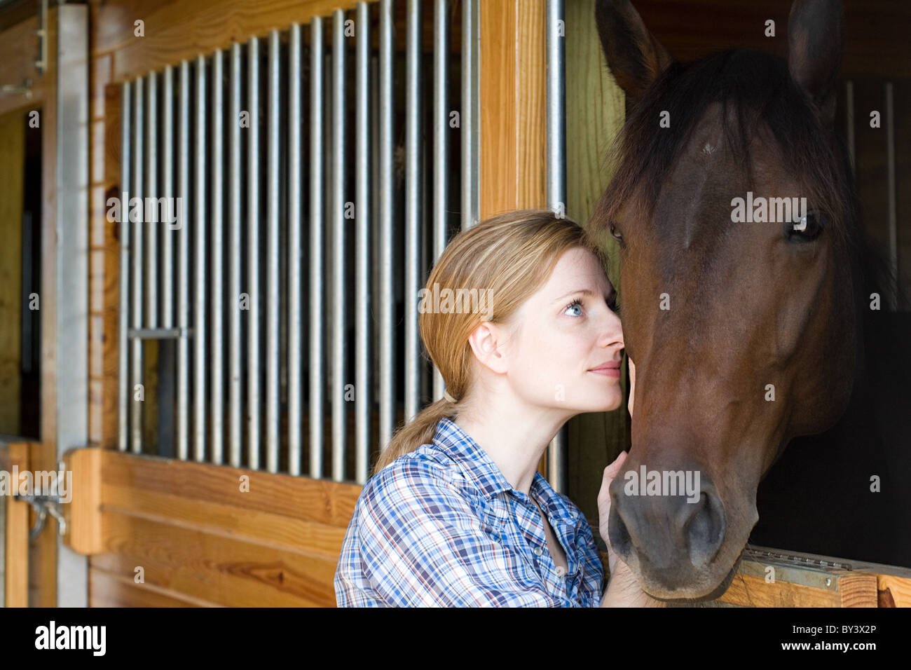 Mid adult woman with horse in stable - Stock Image