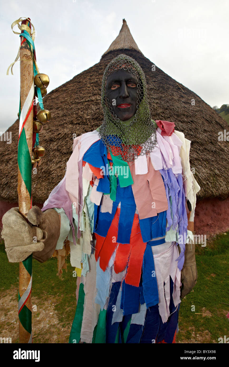 Man Dressed Up as Pagan Warriors The Burning Of the Wickerman Butser Farm Sussex UK - Stock Image