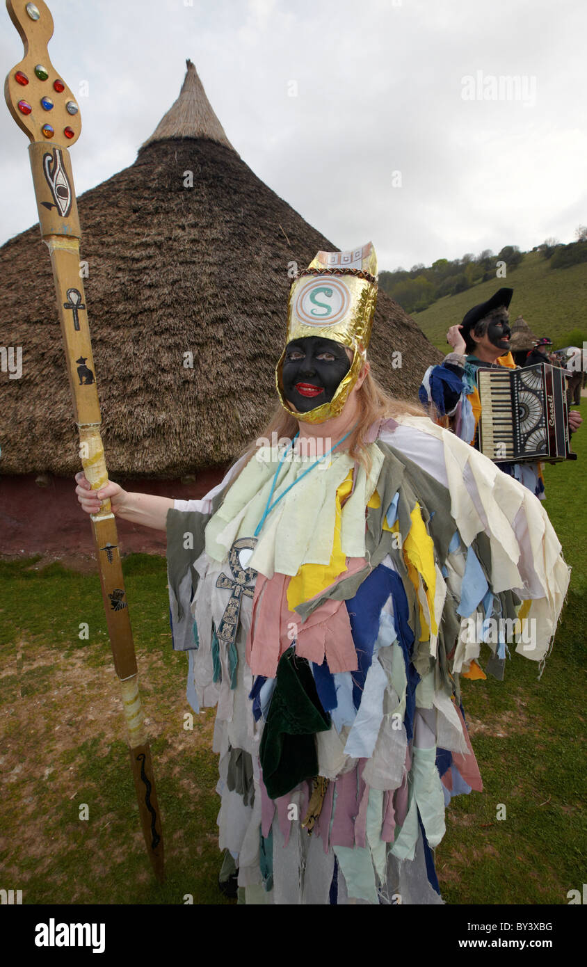 People Dressed Up as Pagan Warriors The Burning Of the Wickerman Butser Farm Sussex UK - Stock Image