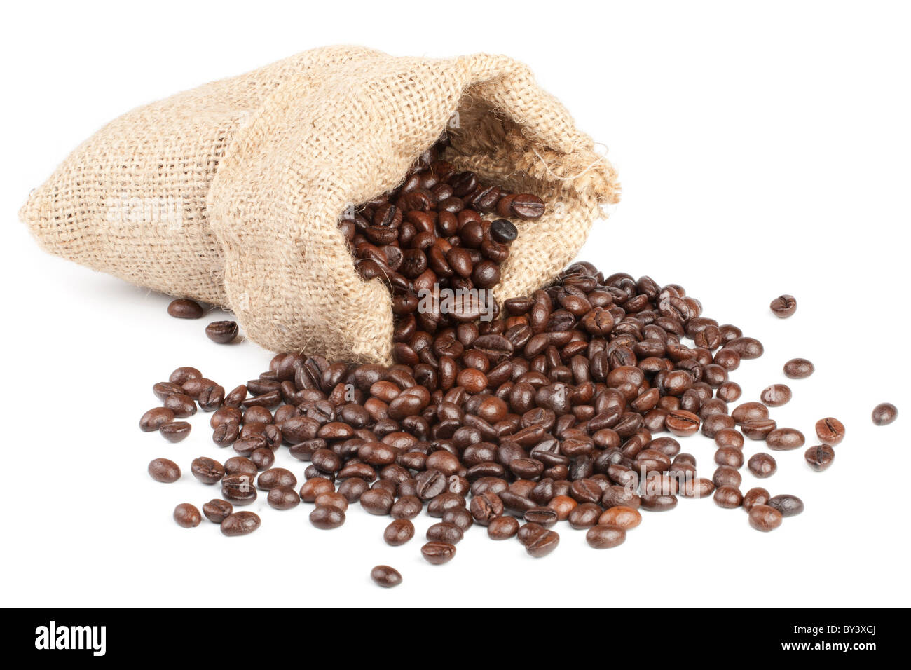 Coffee beans in canvas sack on white background - Stock Image