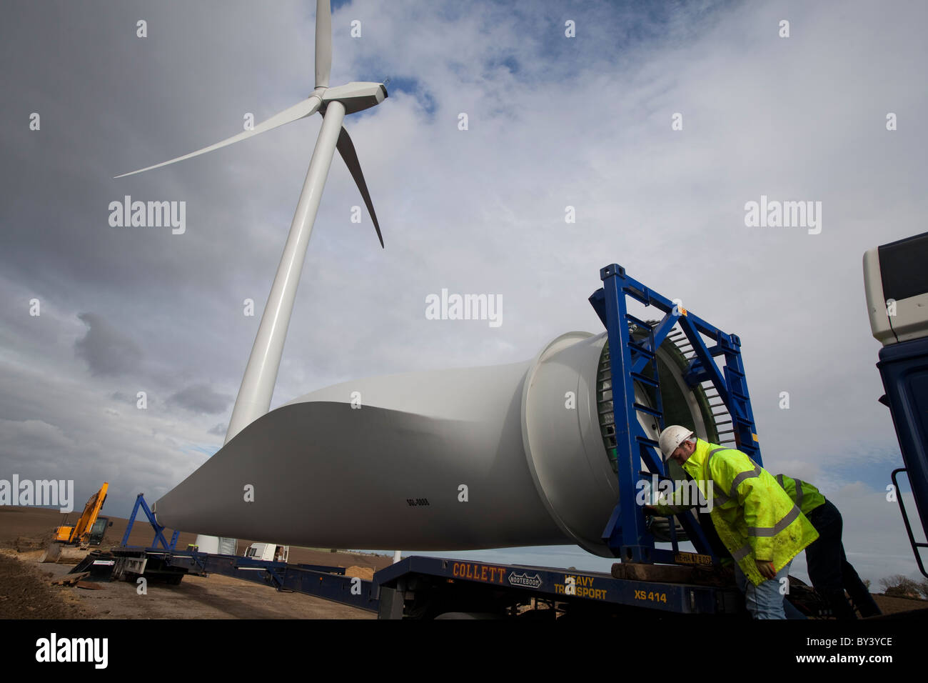 Construction of Wind Turbine Farm at Butterwick Moor Durham UK - Stock Image