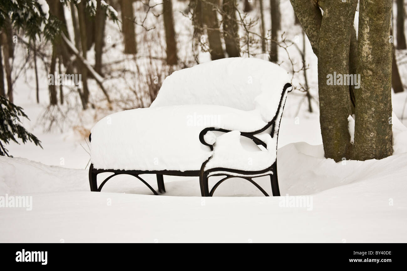 Tremendous A Winter Snow Storm Leaving A Deep Snow Covered Garden Bench Cjindustries Chair Design For Home Cjindustriesco