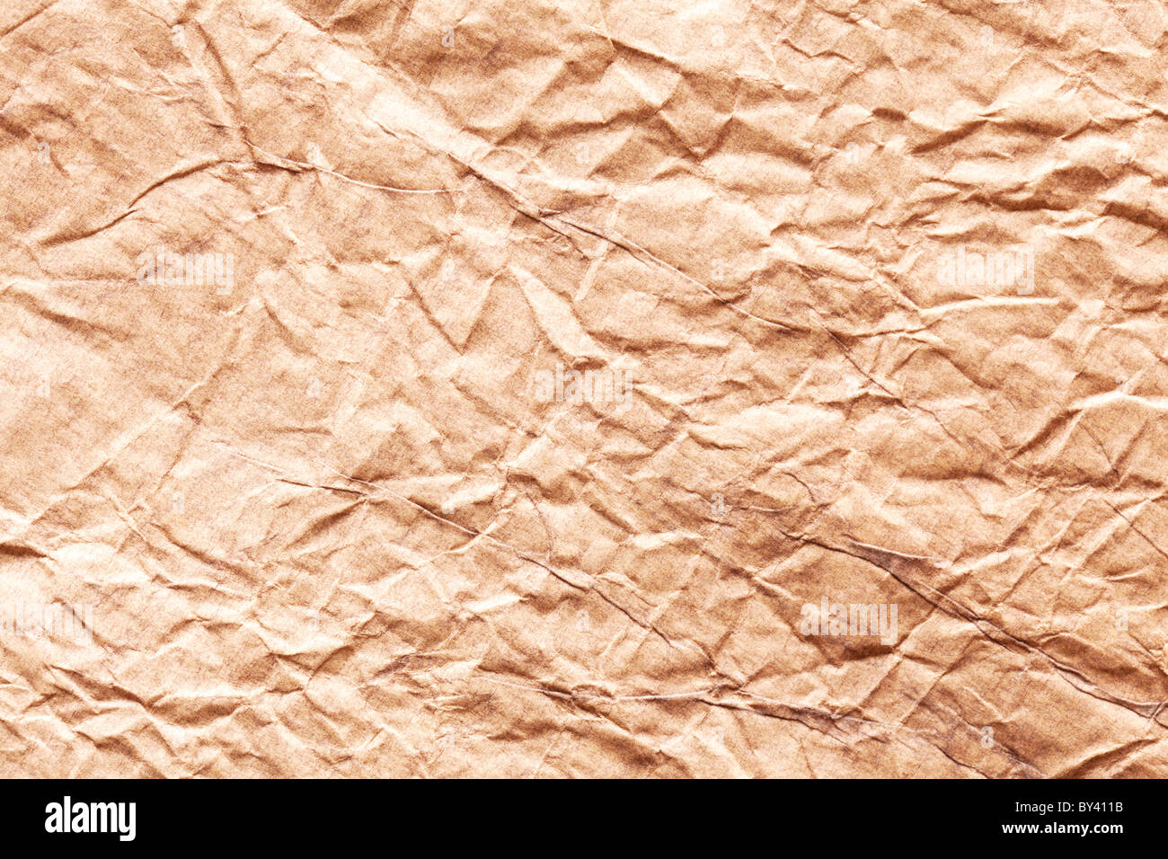 Image texture of crumpled brown paper. - Stock Image