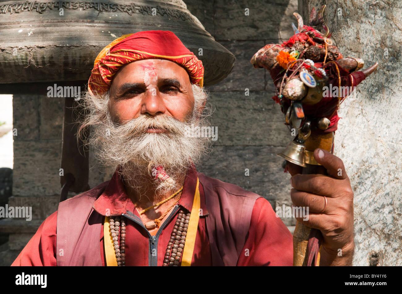 portrait of a sadhu at the Pashupatinath Temple in Kathmandu, Nepal Stock Photo