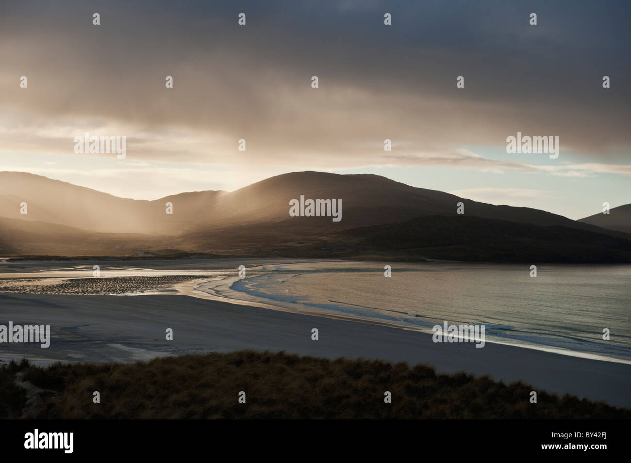 Rain falling over Isle of Harris, Viewed from Luskentyre Beach, Outer Hebrides, Scotland Stock Photo